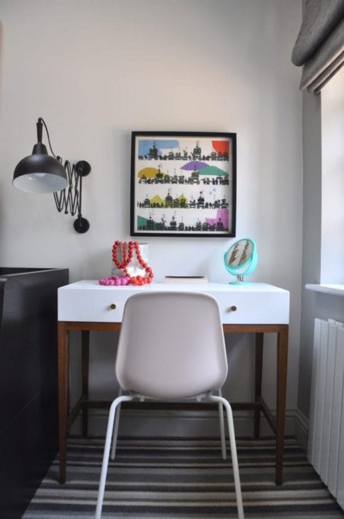 Colourful Japanese wall art above a dressing table in a modern bedroom.