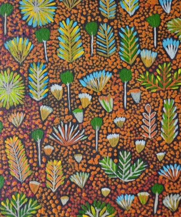 In detail shot of the original Aboriginal art canvas painting that inspired the wallpaper design of the same name.