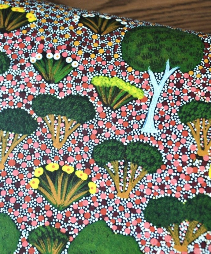 Aboriginal design trees and flora of the Australian Outback in wallpaper form.