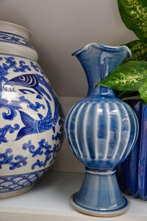 Blue glazed ceramic pot from Thailand from Telescope Style.