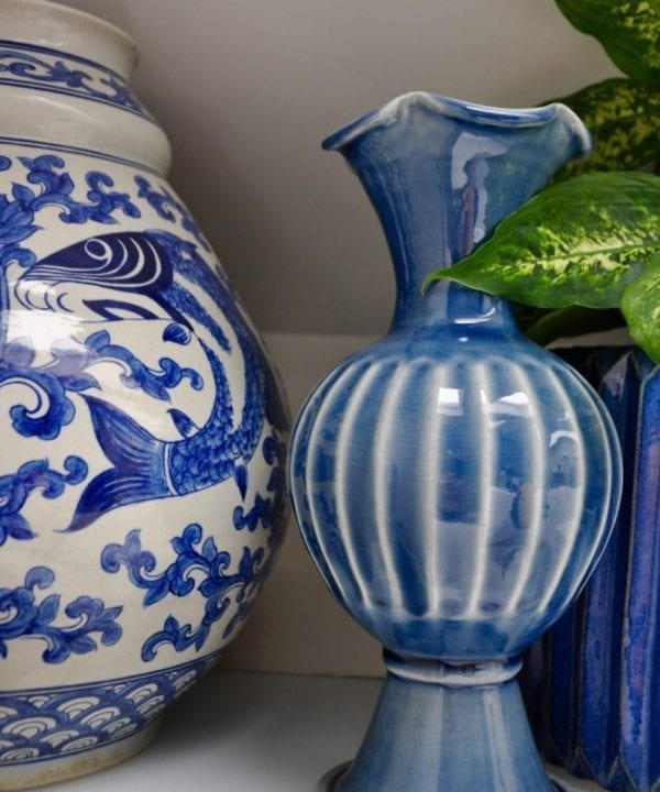 Blue glazed ceramic pot handmade in Thailand from Telescope Style.