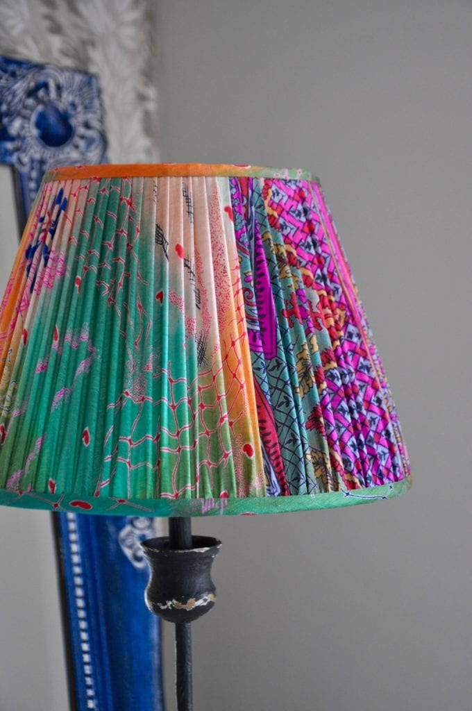 Brightly-coloured, vintage saree silk lampshades for table lamps and floor lamps from Telescope Style.
