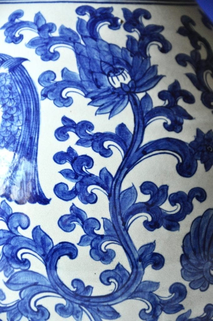 Detail of the Thai blue and white pot with swimming fish and lotus design, Telescope Style.