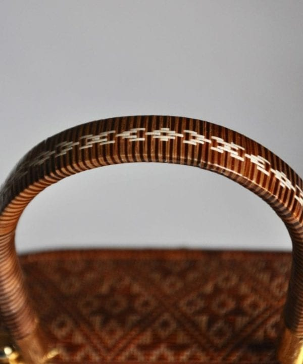 Handle weave detail of the Thai woven evening bag or trinket box available at Telescope Style.
