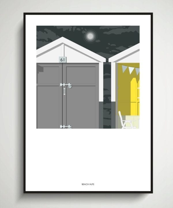A beach huts by night modern art print.