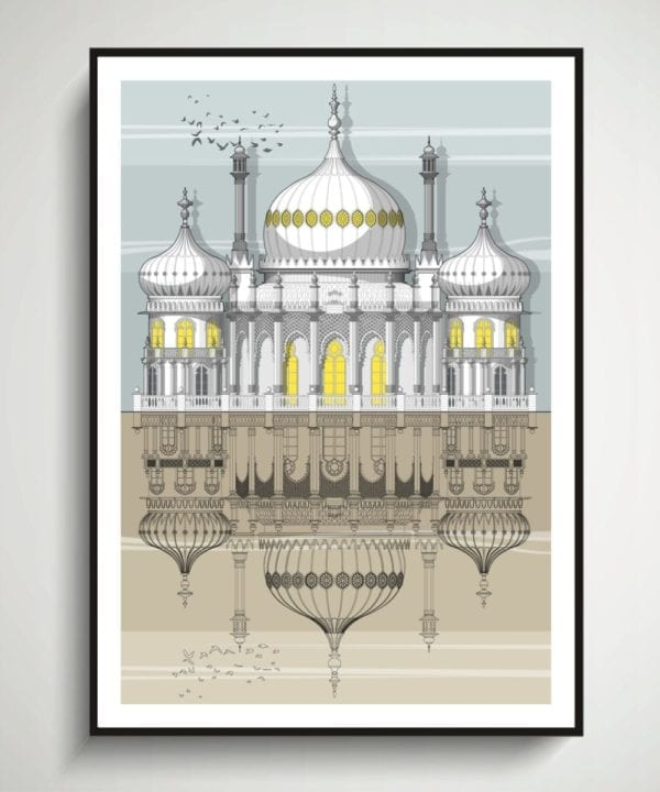 An architectural elevation drawing of The Royal Pavilion, Brighton.
