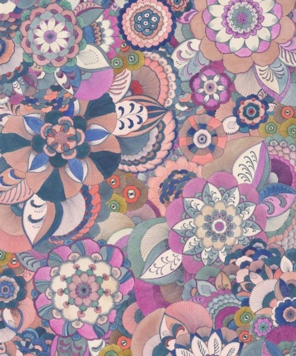 Detail of a floral Japanese drawing limited edition print in a palette of pinks, purples and greens.