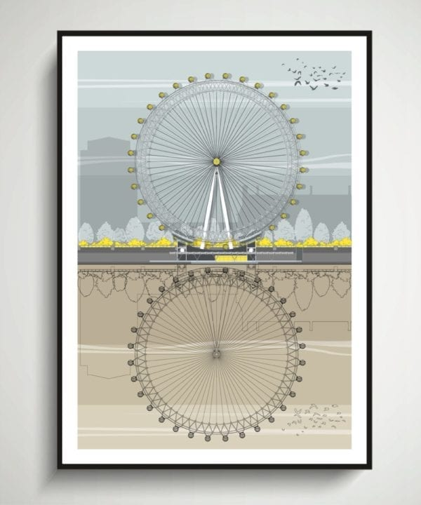 A drawing of the London Eye and it's reflection in the River Thames/
