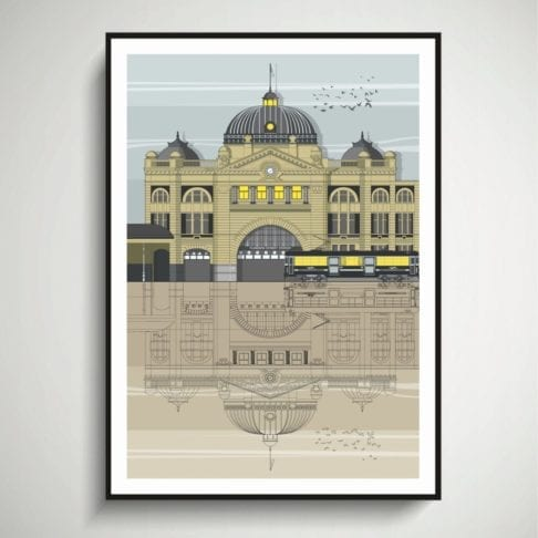 An architectural line drawing of Flinders station in Melbourne, Australia.