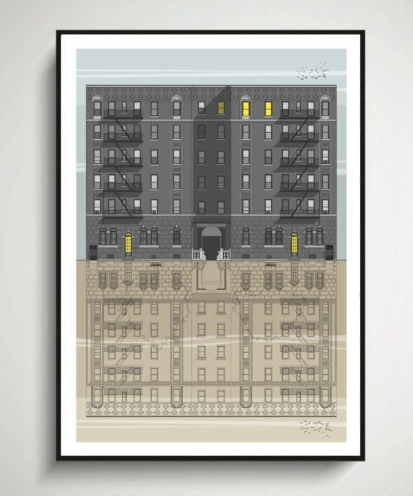 A modernist style New York city print depicting iconic brownstone buildings that characterise so much of residential NYC.