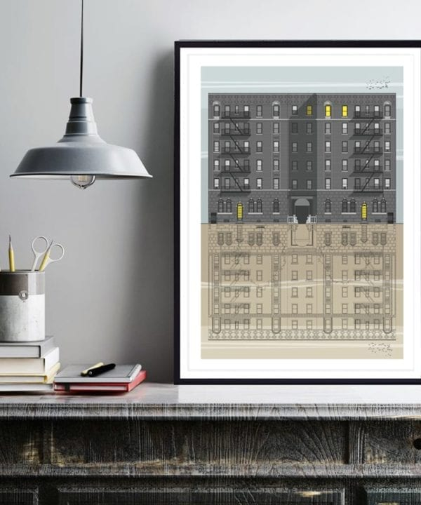 A drawing of New York brownstone apartment blocks.