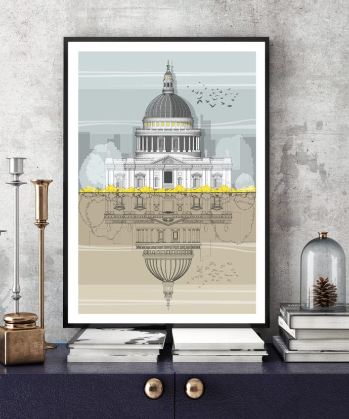 A modern architectural line drawing of St. Paul's Cathedral in London.