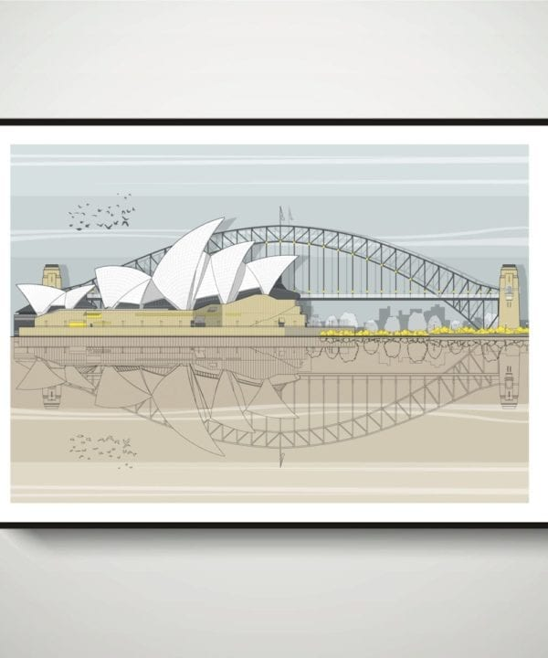Modern drawing of Sydney Opera House with Sydney Harbour Bridge in the background.
