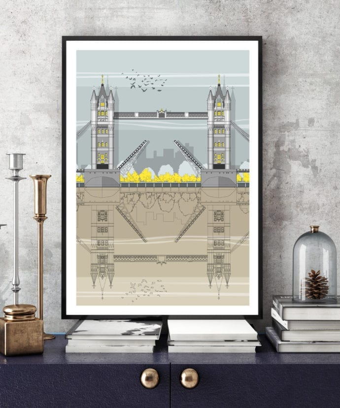 An architectural line drawing of London's iconic Tower Bridge.