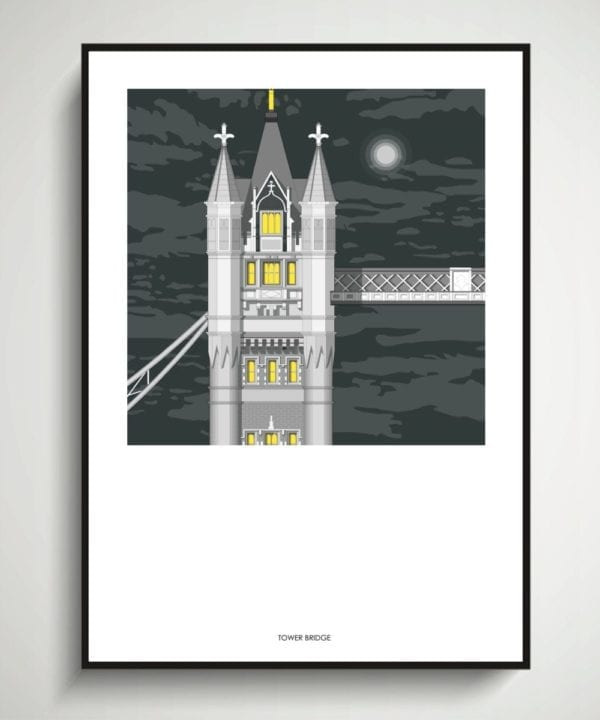 Detail of a line drawing of Tower Bridge in London by night.