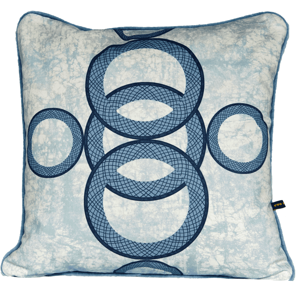 A blue African circles motif printed cushion available through TelescopeStyle.com.