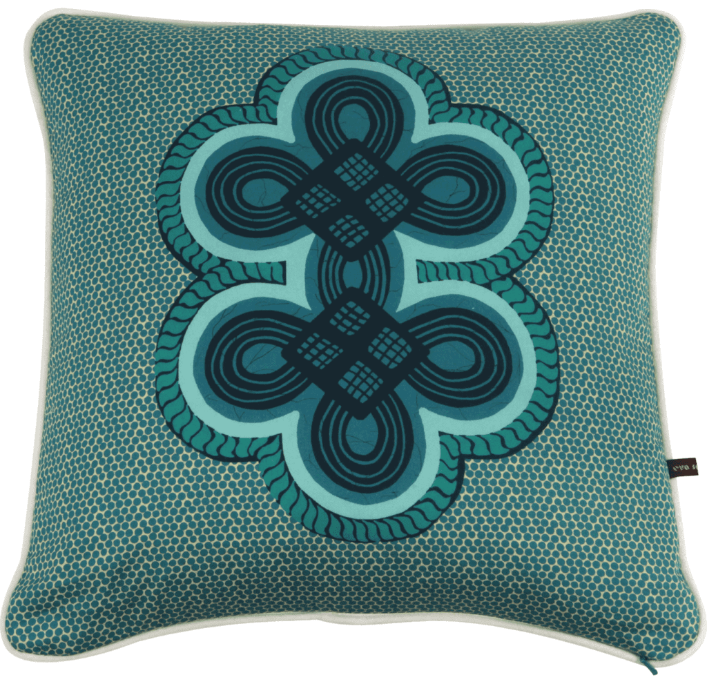 A teal or aqua double knot motif tribal print cushion available through TelescopeStyle.com.