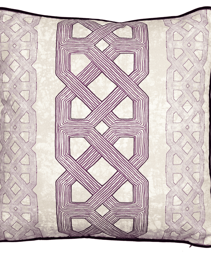 A purple tribal lattice print cushion available through TelescopeStyle.com.