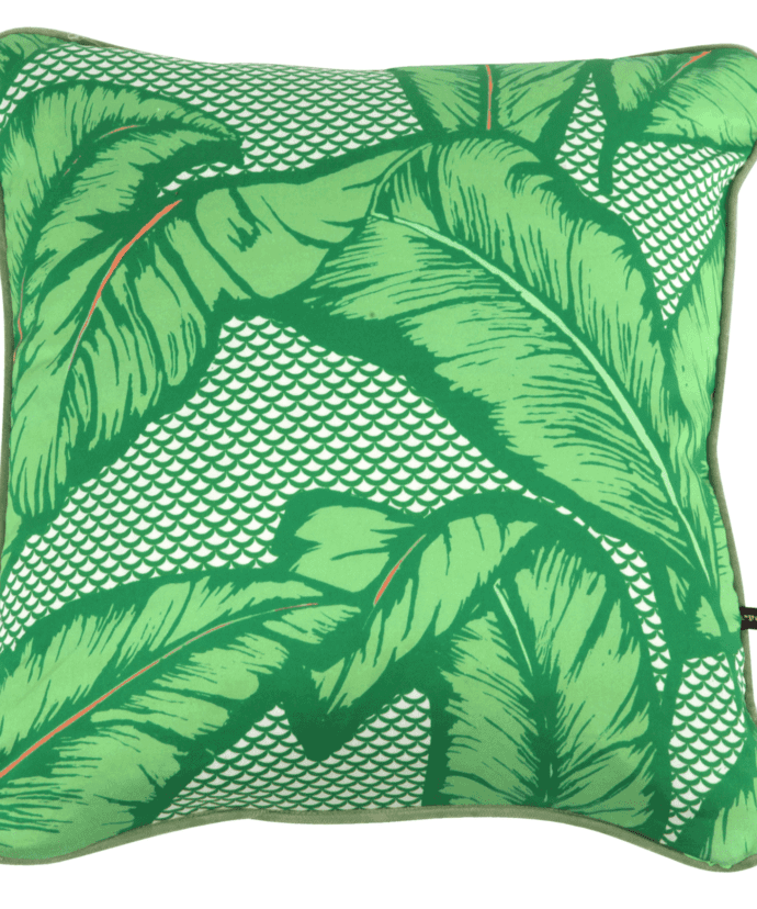 A green banana leaf print cushion available through TelescopeStyle.com.