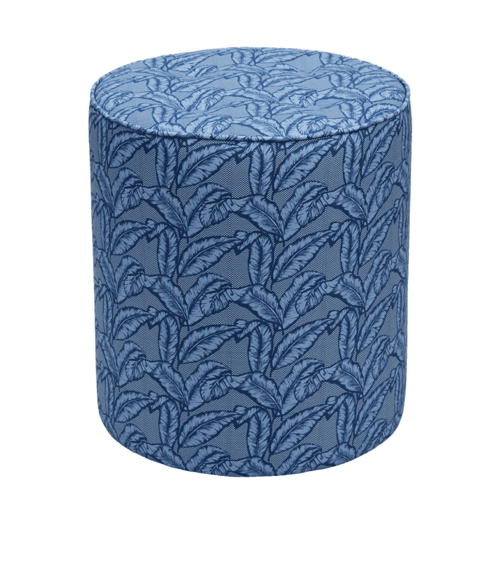 A blue banana leaf print pouffe available through TelescopeStyle.com.