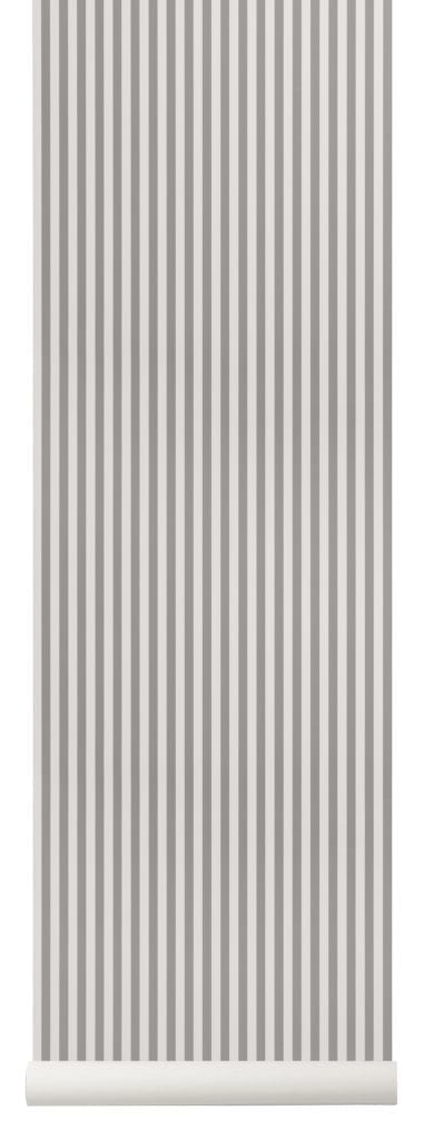 Narrow grey striped wallpaper.