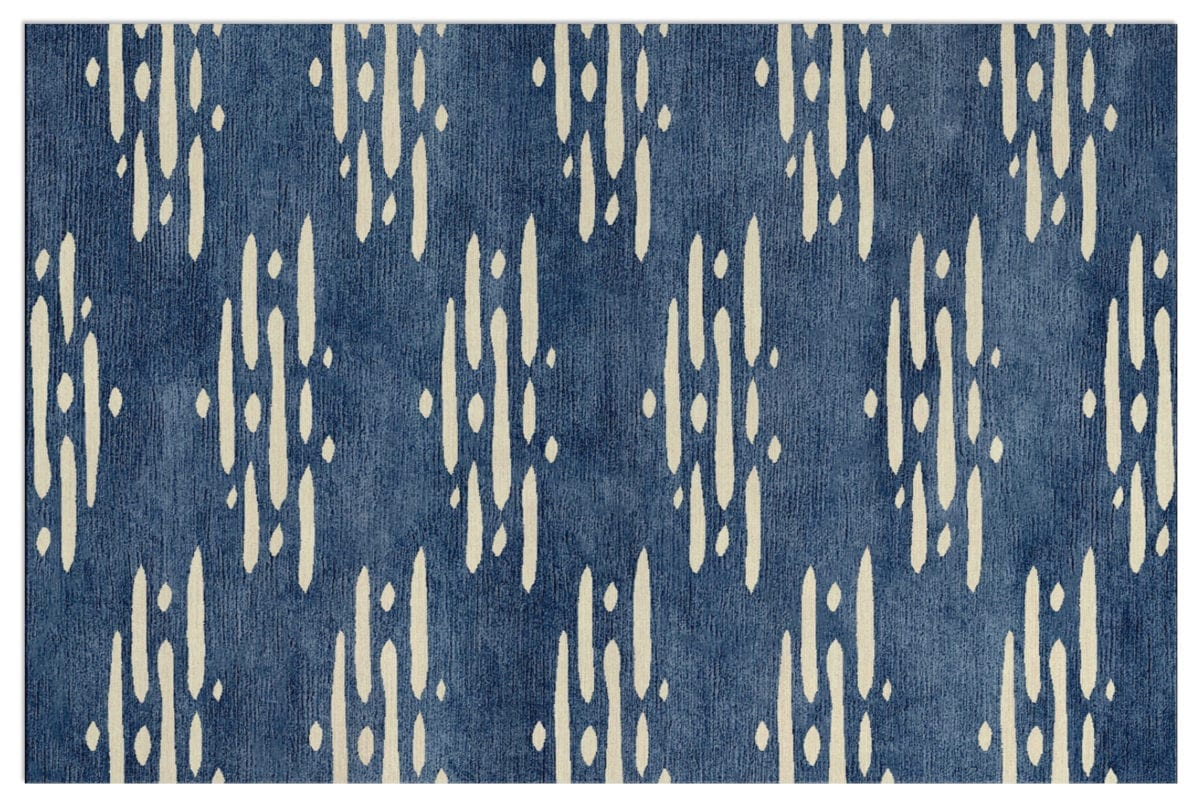 A Japanese inspired blue and white rug design.