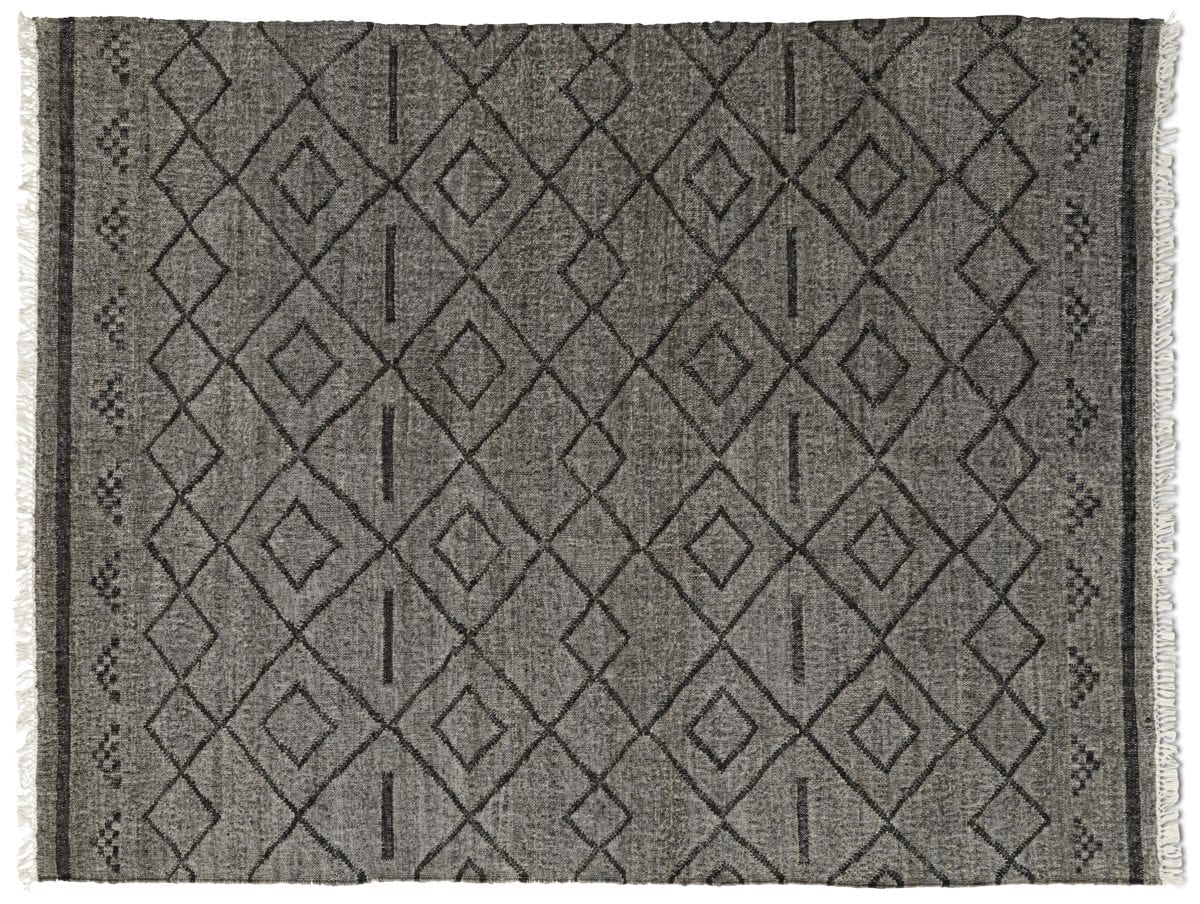A Moroccan style flat weave rug in grey.