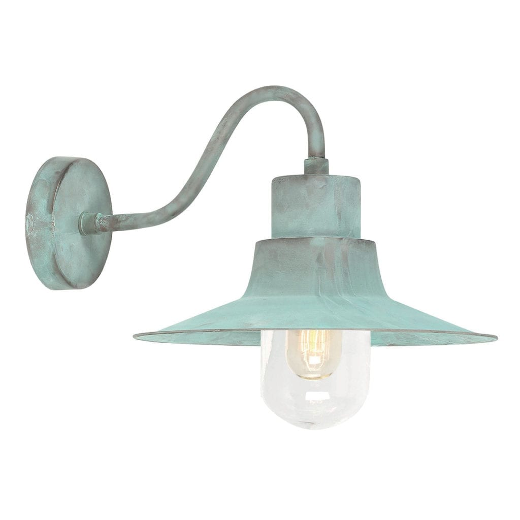 A verdigris downlighter wall lamp.