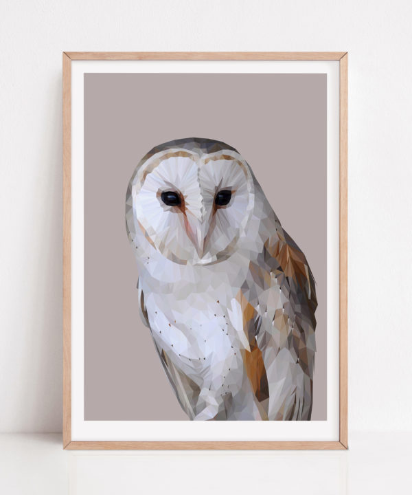 Barn owl print against a soft grey ground with a pale wooden frame.