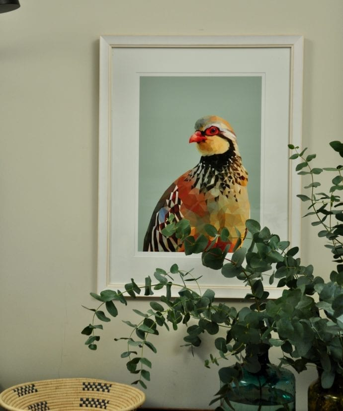 A giclée digital art print of a red-legged partridge with a vase of eucalyptus in the foreground.