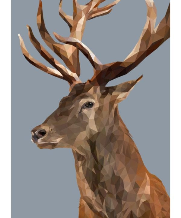 A majestic stag print, digitally-rendered, against a cool grey backdrop.
