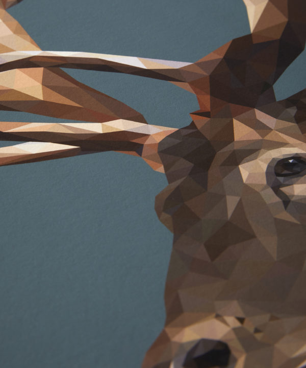 A detail of the digitally-created stag print.