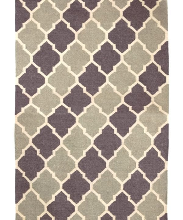 A flatweave, grey and white trellis rug handmade in India.