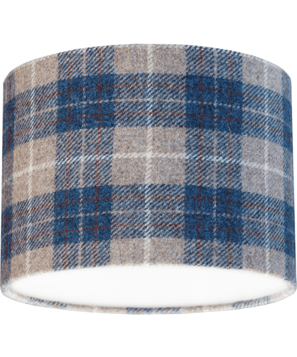 A blue check Harris tweed lampshade.