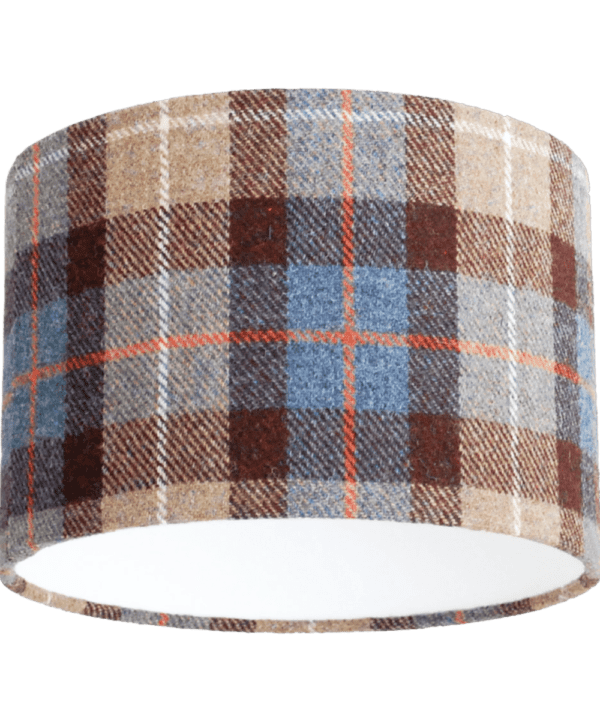Brown and blue check Harris tweed lampshade.