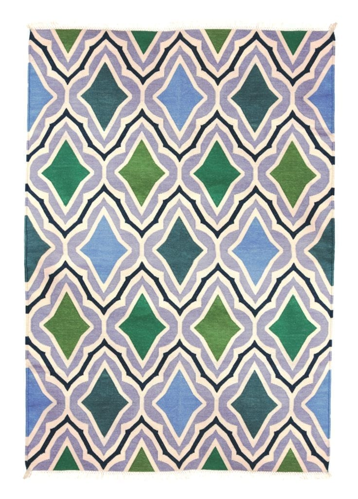 A mesmerising diagonal motif Indian dhurrie rug in sky blue, green and grey.