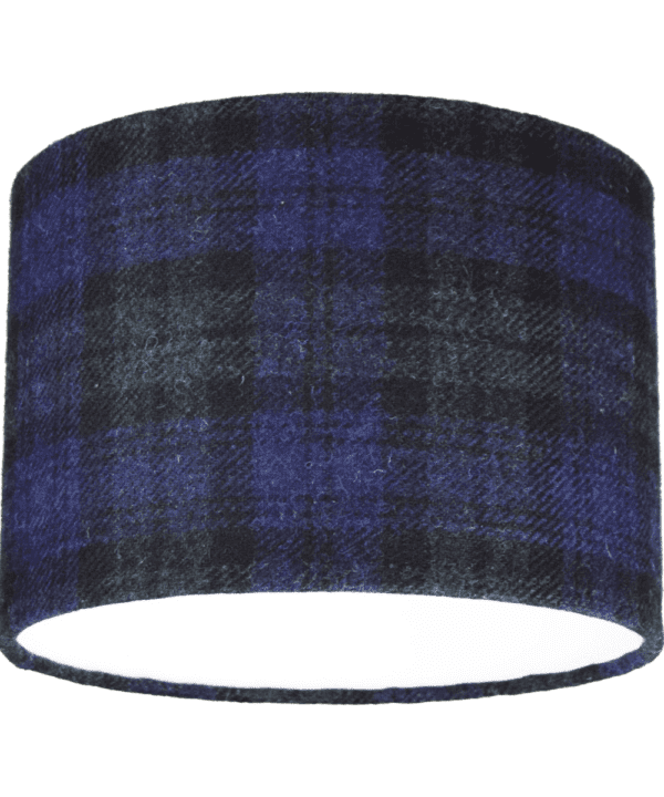 Cut out shot of a Black Watch tartan drum shade.