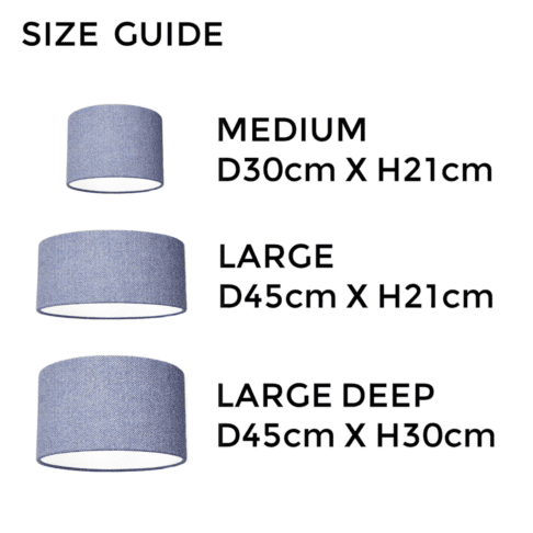Blue herringbone Harris tweed lampshade size guide illustrating the different dimensions available.