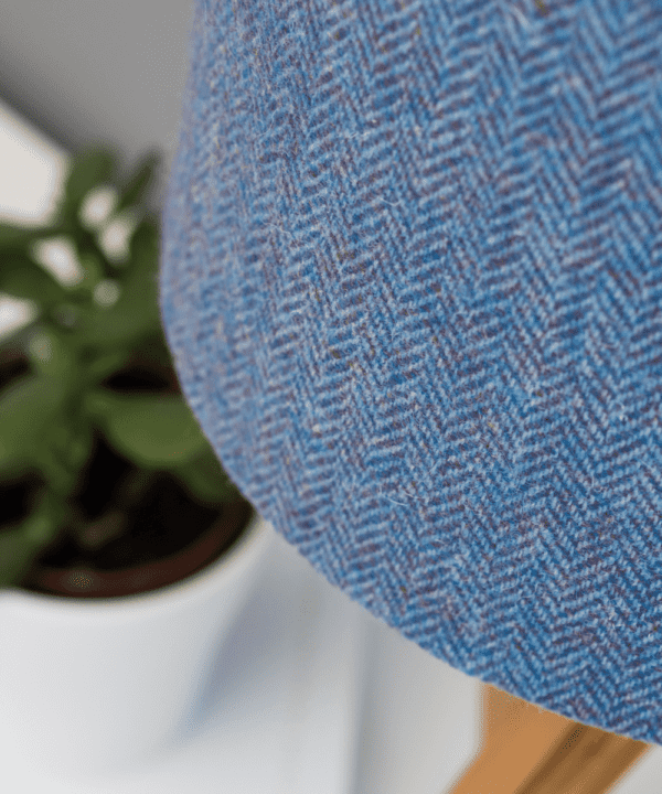 Detail shot of a blue herringbone Harris tweed lampshade.
