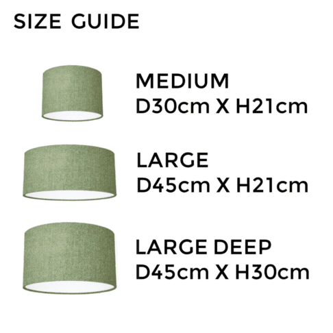 Green tweed lampshade size guide illustrating the different dimensions available.