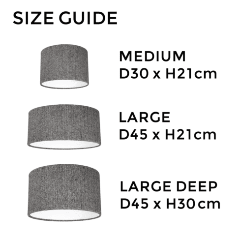 Grey herringbone Harris tweed lampshade size guide illustrating the different dimensions available.
