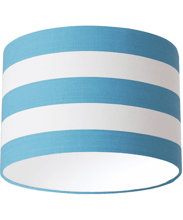 Sky blue and white striped drum lampshade.