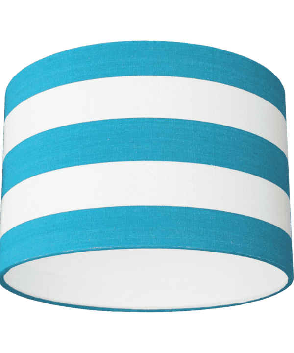 Turquoise and white striped drum lampshade.