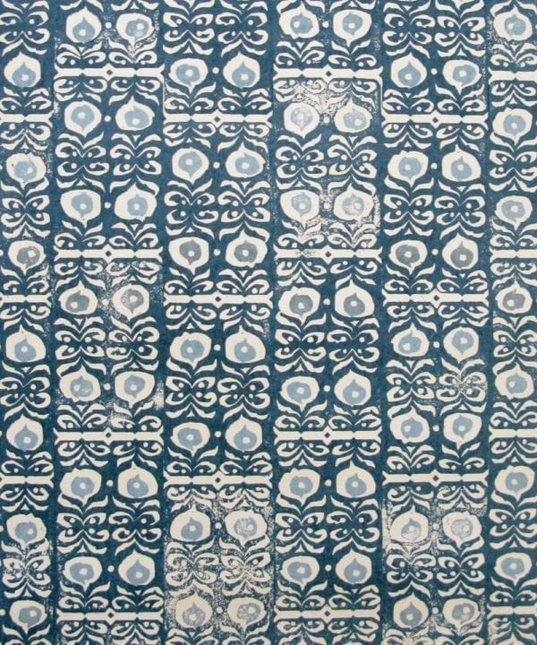 Fabric detail of 'Iznik' linen indigo blue patterned cushions.