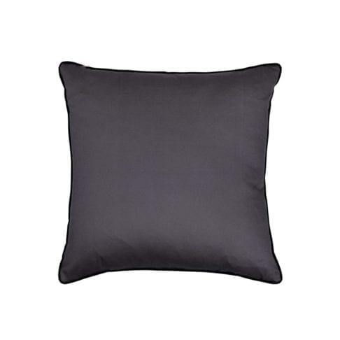 The dark grey cotton reverse of this square silk ikat cushion with black velvet piping.