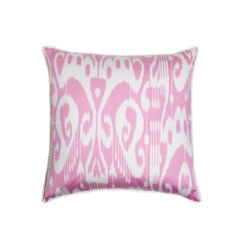 A pink and white silk, square, ikat design cushion.