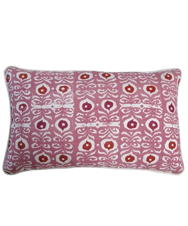 Pink patterned cushions with a culturally-inspired, decorative, Middle Eastern motif on hand-printed linen.