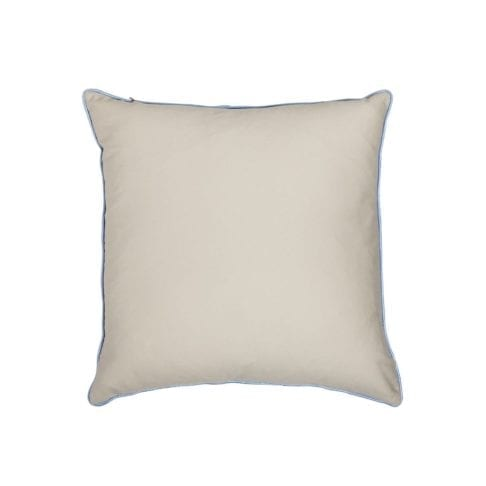 The sand-coloured cotton back of the square ikat cushions with pale blue silk piping cut out shot.