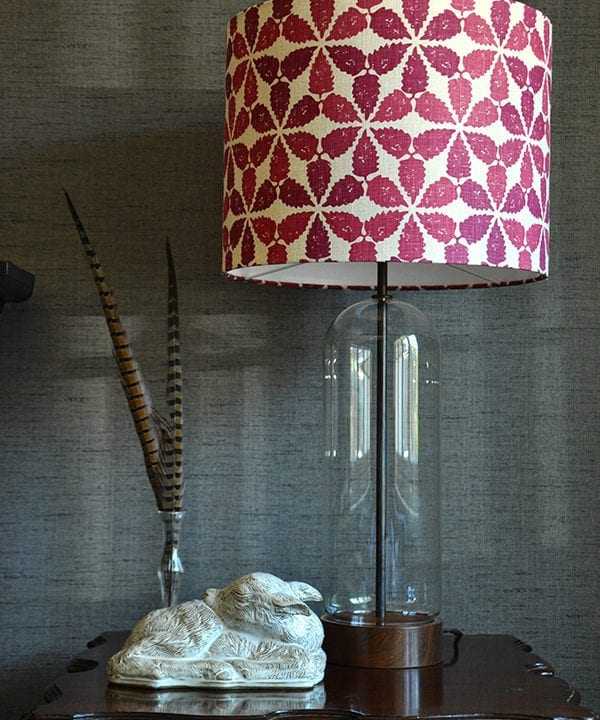 Cranberry red lampshade in 'Maroc', Telescope Style.