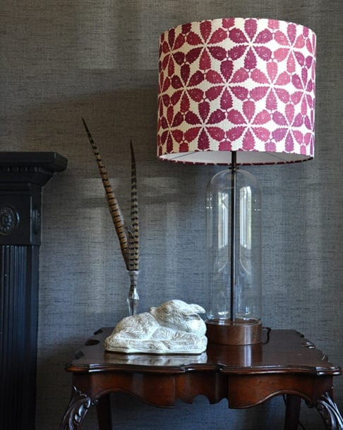 Cranberry red patterned lampshade in 'Maroc', Telescope Style.